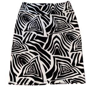 LuLaRoe Black & White Abstract Cassie Pencil Skirt